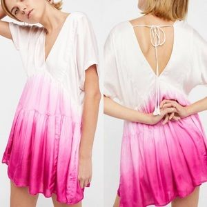 Free People Sun Up pink tie dye mini dress Small